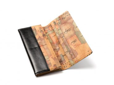Wallet – World map print / Long wallet / Black