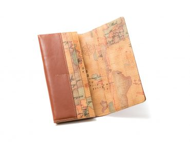 Wallet – World map print / Long wallet / Brown